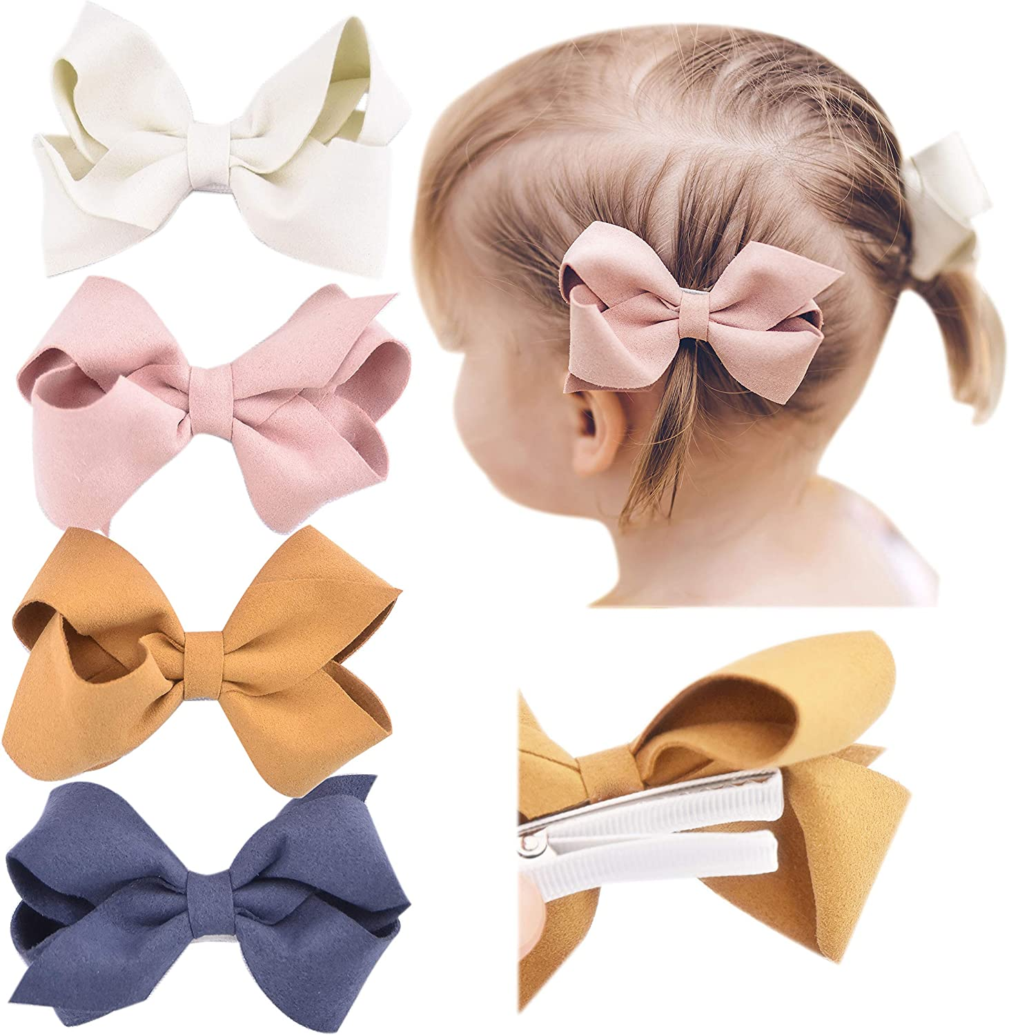 Little Girls Mixed Set of 4 or 5 California Tot Strong and Safe Fully Lined Alligator Bow Hair Clips Barrettes for Toddler