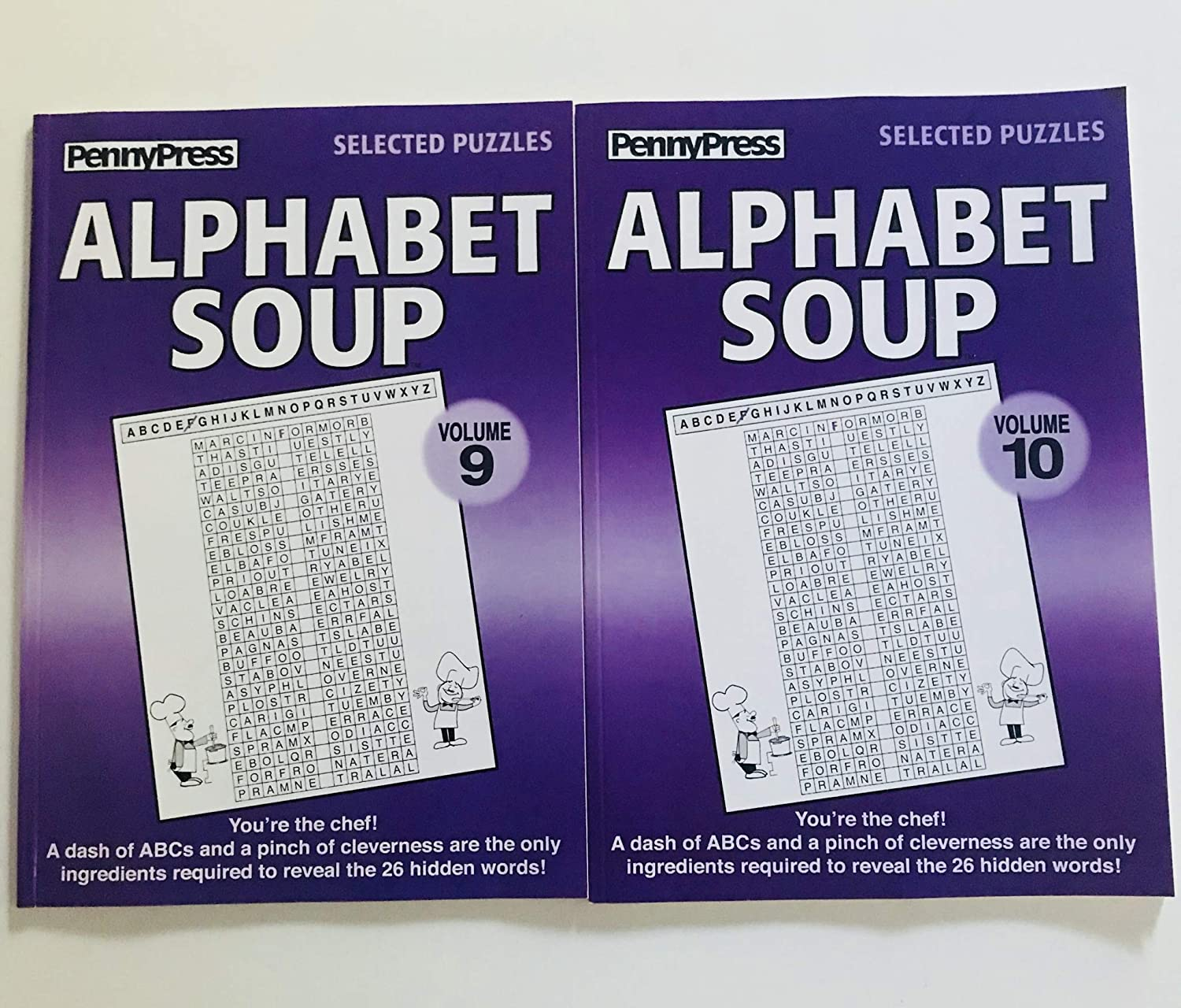 Issues 9 and 10 of Alphabet Soup Puzzles from Penny Press Selected Puzzles