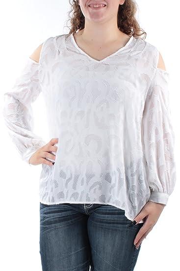 6dfed136f5daa Alfani Womens Illusion Cold Shoulder Peasant Top White 14 at Amazon Women s  Clothing store