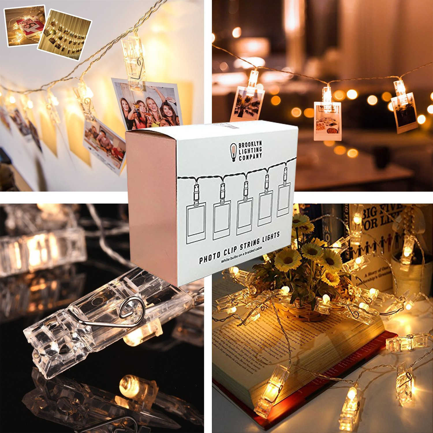 Brooklyn Lighting Company -  Clear Clothes Pin LED String Lights, Decorative String Lights, Battery Operated String Lights, Party Decor Supplies for Indoor/Outdoor
