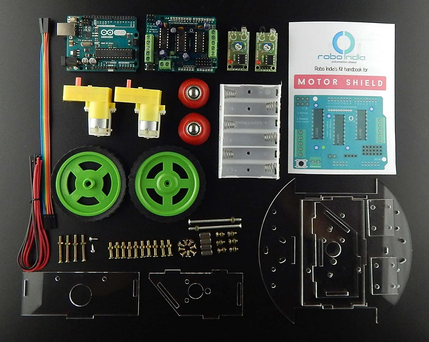 Robo India Dvlf 3 Line Follower Kit On Da Vinci Robot With Arduino Mpu6050 Wiring Diagram Uno Compatible Board Industrial Scientific