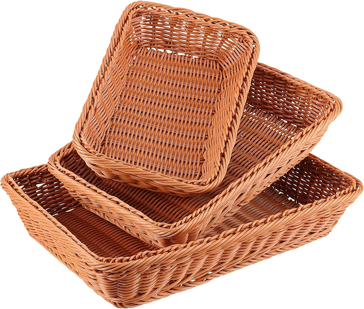 ZEONHAK 3 Pack 12 14 16 Inches Poly Wicker Bread Baskets, Tabletop Food Serving Baskets, Handmade Woven Pantry Organizer for Vegetables, Fruits and Snacks, Restaurant, Hotel Serving