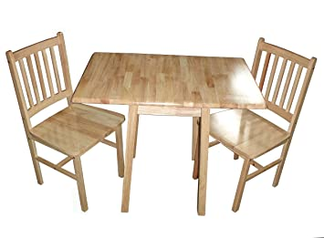 Antik Natural Wood Compact Drop Leaf Table For Kitchen Or Dining Room With  2 Chairs