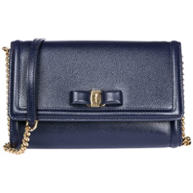 Salvatore Ferragamo women s leather clutch with shoulder strap handbag bag  purse cd3ee01f62459