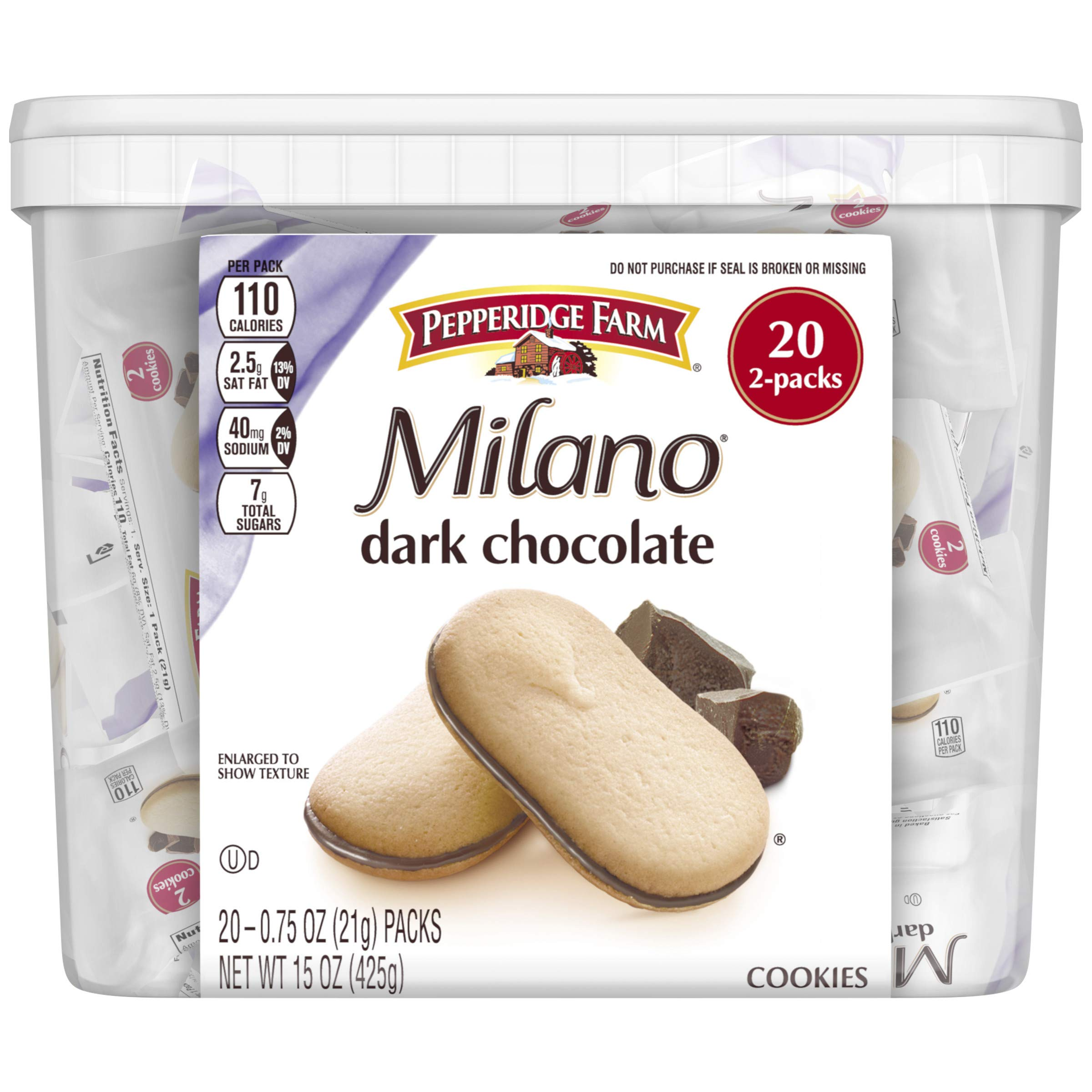 Pepperidge Farm Milano Dark Chocolate Cookies, 15 Ounce Multipack Tub, 20 Count, White
