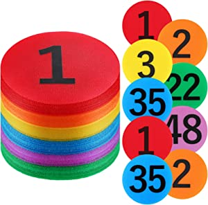 48 Pieces Carpet Marker Floor Spot Markers Carpet Circles Dot Markers with Numbers 1-48 for Teachers Parents