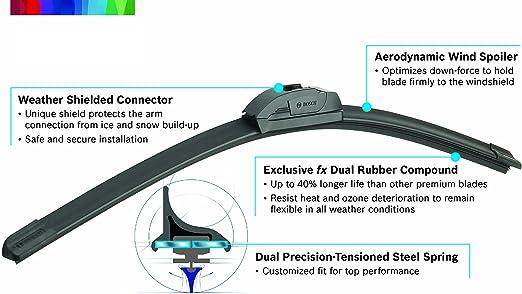 "BOSCH Super Plus Front Driver//Passenger /& Rear Windscreen Wiper Blades 18//18//13/"""