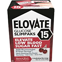 Elovate 15 Glucose Powder Slimpaks (6 Pack) 15.5g Fast Dissolve All Natural for Rapid Hypoglycemia Recovery - Substitute…