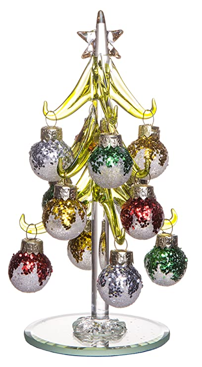 Mini Green Glass Christmas Tree Decoration Removable Multi Colored Sphere Ornaments Holiday Season