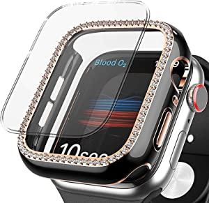 HIGHGO Bling Case Compatible with Apple Watch 38mm 40mm 42mm 44mm with Tempered Glass Screen Protector Full Protective Case for Apple Watch Series 6,5,4,3,2,1, SE(Black-Golden, 40MM)