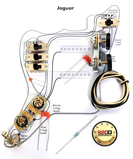 amazon com: fender vintage '62 jaguar wiring kit - pots switch slider caps  bracket diagram: musical instruments