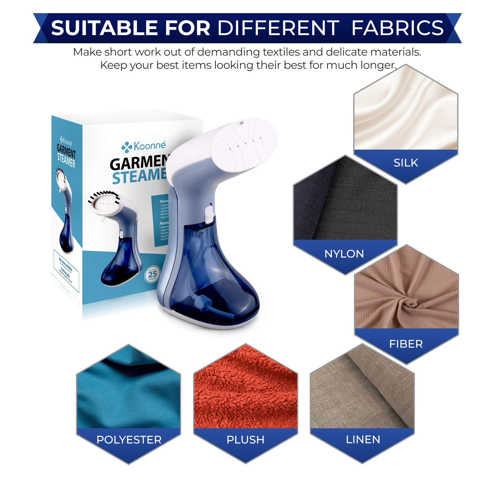 KOONNE Mini Garment Steamer | For hard water |Quick Heating for Wrinkle Free Clothes, Curtains & Furniture | Lightweight & Portable Handheld Iron for Travelling