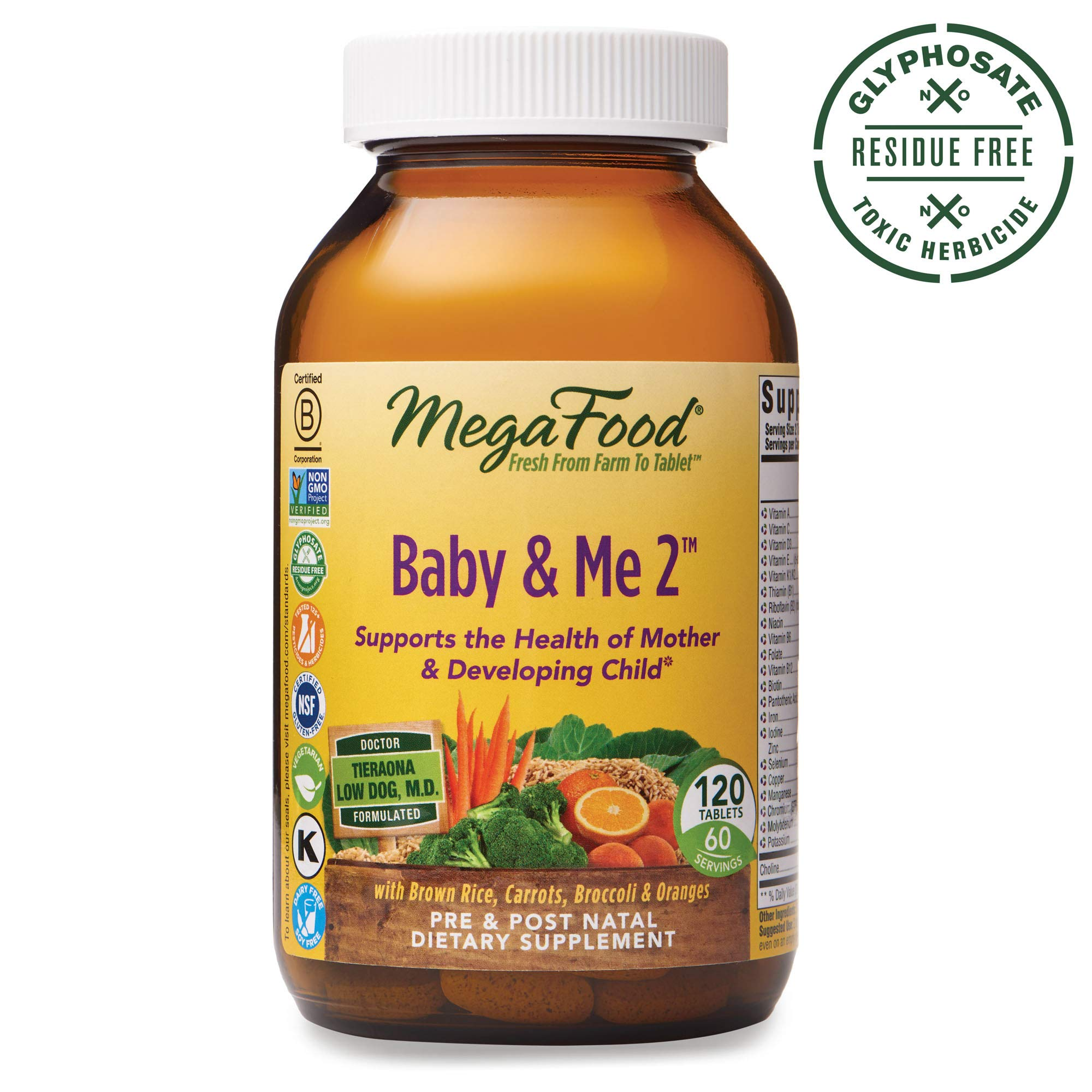 MegaFood, Baby & Me 2, Prenatal and Postnatal Vitamin, Dietary Supplement with Iron, Folate and Choline, Gluten-Free, Vegetarian, 120 Tablets (60 Servings) by MegaFood