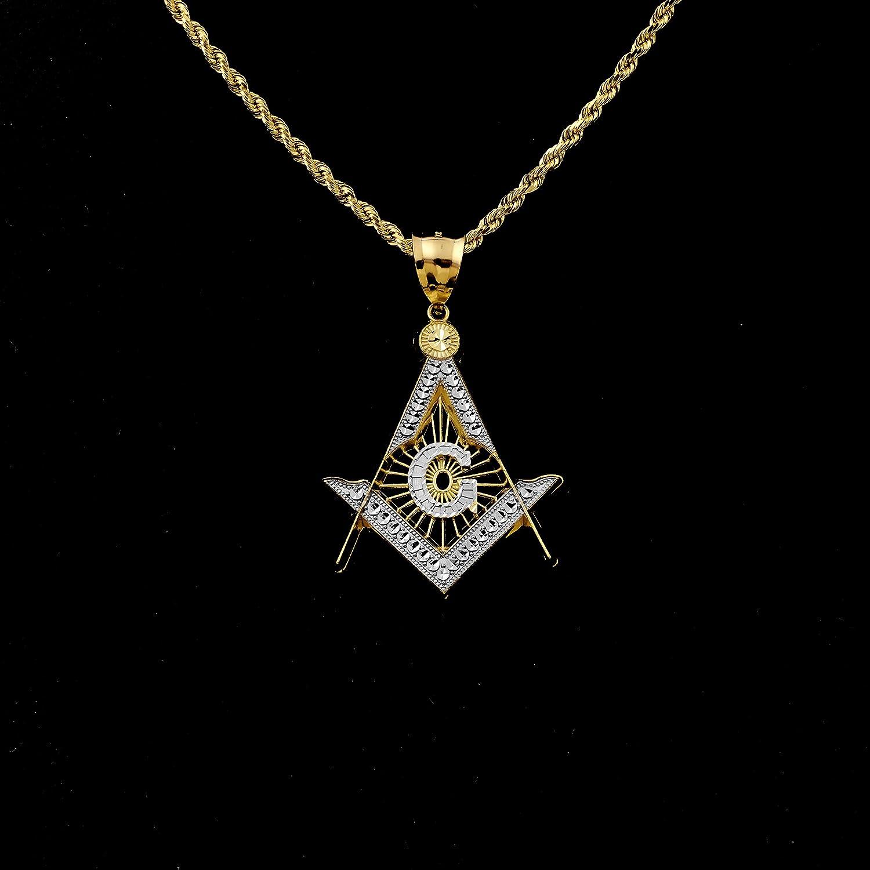 2.35 x 1.47 LOVEBLING 10K Yellow Gold Two Tone Freemason Compass Diamond Cut Pendant