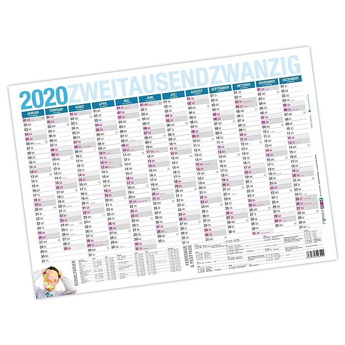 Wandkalender verschiedene Ausführungen und Formate A2 bis A0, 2019, 2020, 2021