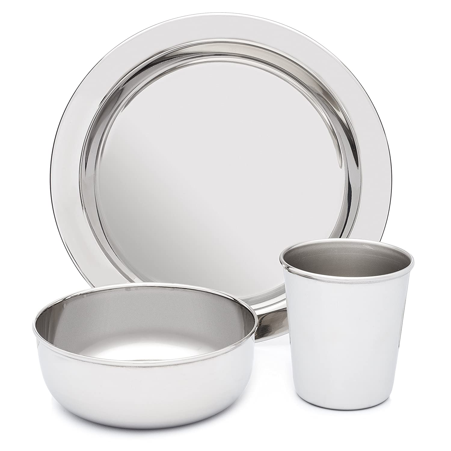 Amazon.com  Stainless Steel Dish Set for Kids with Plate Bowl and Cup - BPA Free - by HumanCentric  Baby  sc 1 st  Amazon.com & Amazon.com : Stainless Steel Dish Set for Kids with Plate Bowl ...