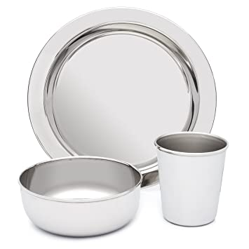 d5d56845ef70 Amazon.com   Stainless Steel Dish Set for Kids