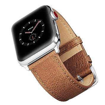 Benuo - Correa para reloj Apple de 42mm, pulsera de cuero genuino compatible