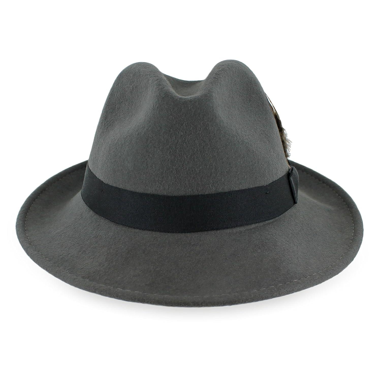 Belfry Crushable Dress Fedora Men's Vintage Style Hat 100% Pure Wool in Black Blue Grey Pecan Brown