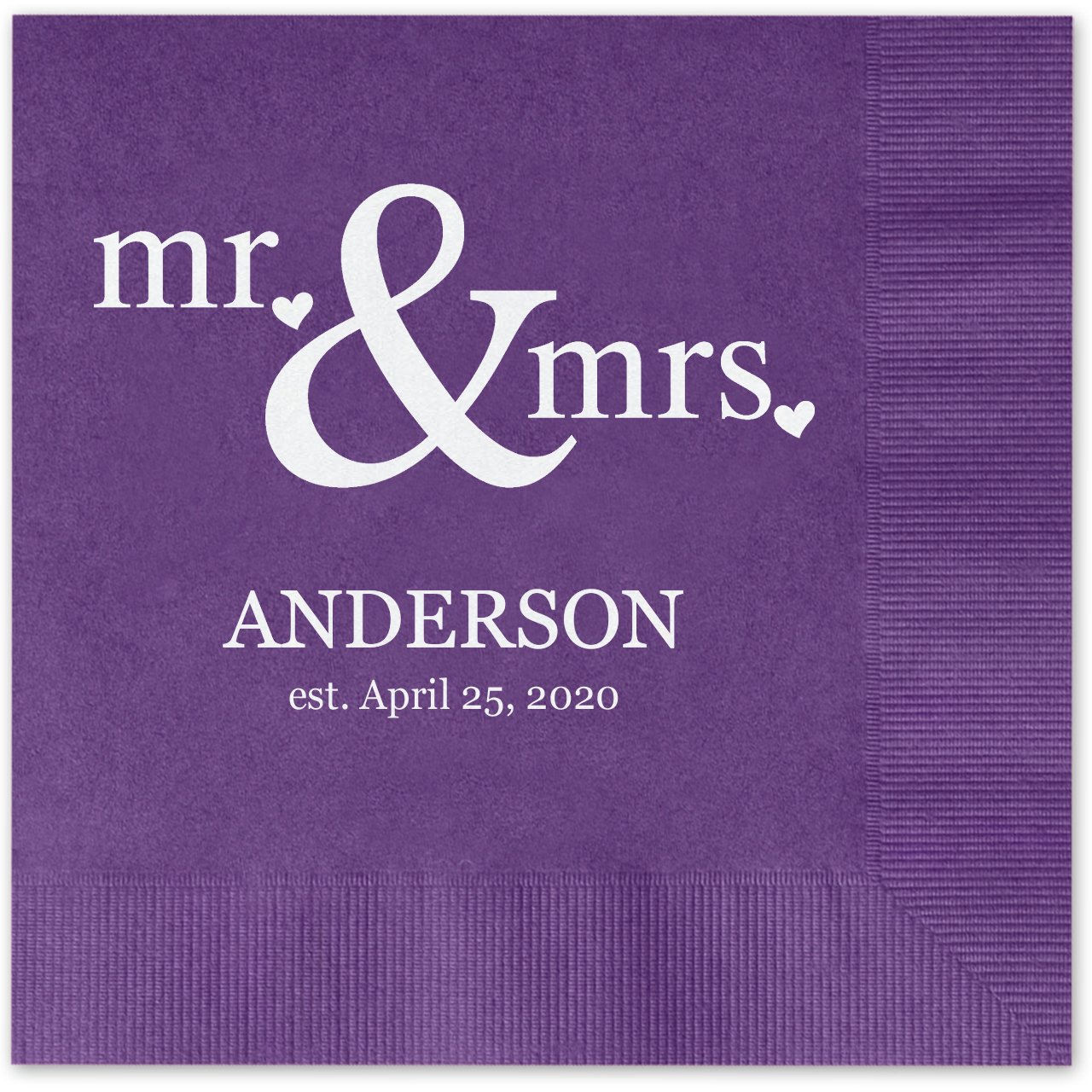 Mr & Mrs Hearts Personalized Beverage Cocktail Napkins - 100 Custom Printed Violet Purple Paper Napkins with choice of foil