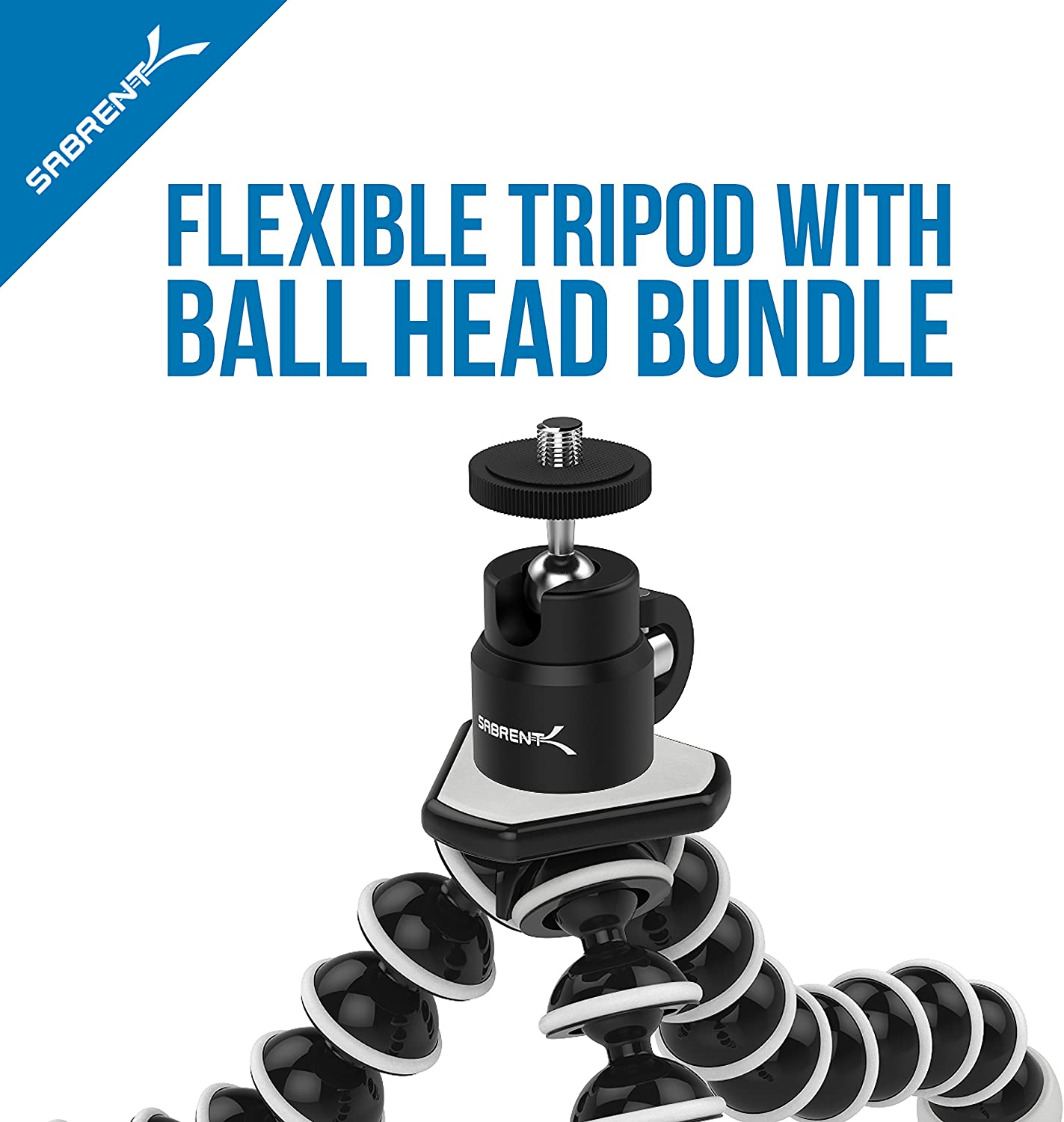 Renewed GoPro Mount Adapter Included GP-TRPD-TBHD Sabrent Flexible Tripod with Ball Head Bundle for Standard Tripod Mount