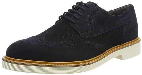 Geox U Damocle B, Zapatos de Cordones Brogue para Hombre, Gris (Taupe), 40 EU
