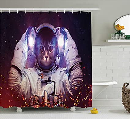 LIBIN Space Cat Shower Curtain By Astronaut In Suit Outer Nebula Galaxy Cosmos