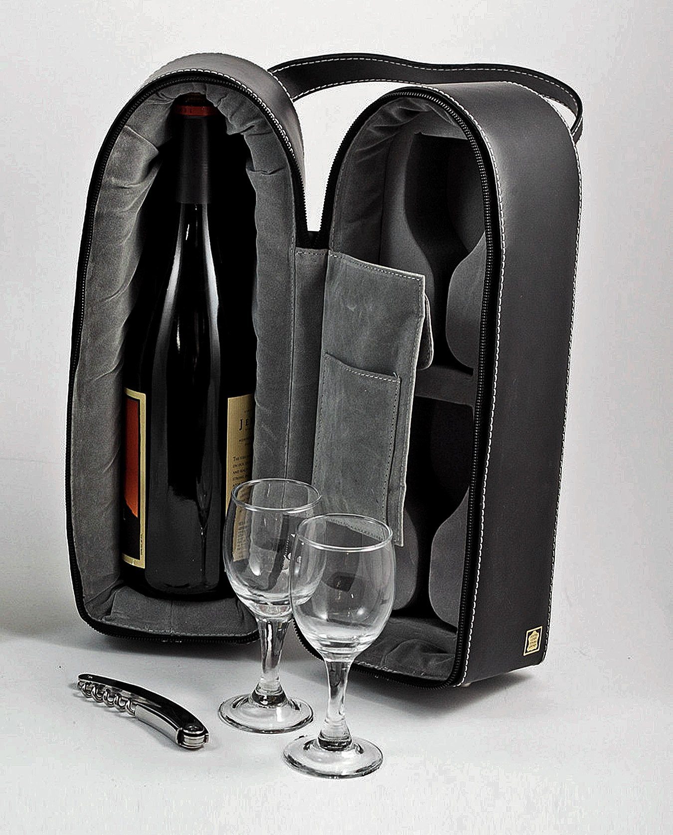 Wine Accessory Sets - Wine Caddy with Two Glasses & Bar Tool - Black Leather Case - Wine Holder