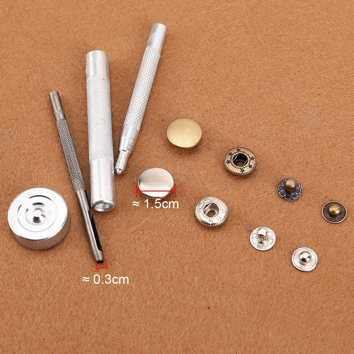 50x bouton pression métal argenté bronzé 15mm avec outil pour cuir  maroquinerie Surepromise 6b180cb05bc