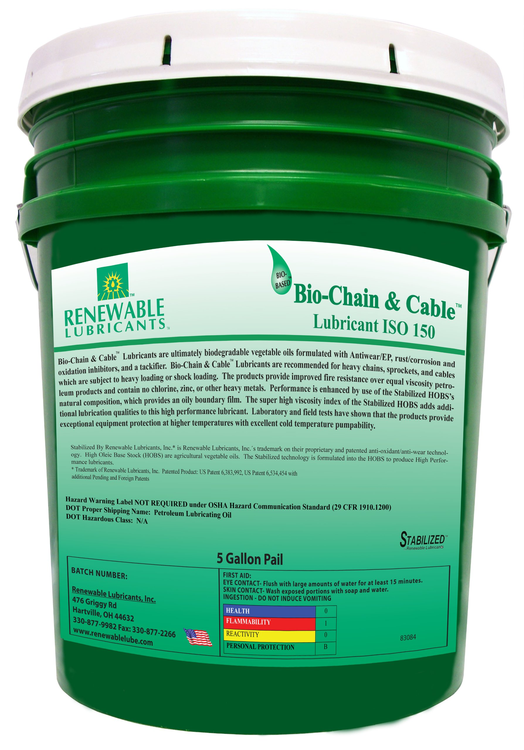 Renewable Lubricants Bio-Chain and Cable ISO 150 Lubricant Oil, 5 Gallon Pail