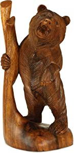 """G6 Collection 12"""" Wooden Hand Carved Standing Bear Statue Handcrafted Handmade Figurine Sculpture Art Rustic Lodge Cabin Outdoor Indoor Decorative Home Decor Accent Decoration Bear"""