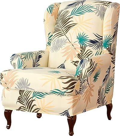 Subrtex Funda elástica para sillón orejero con diseño de flores