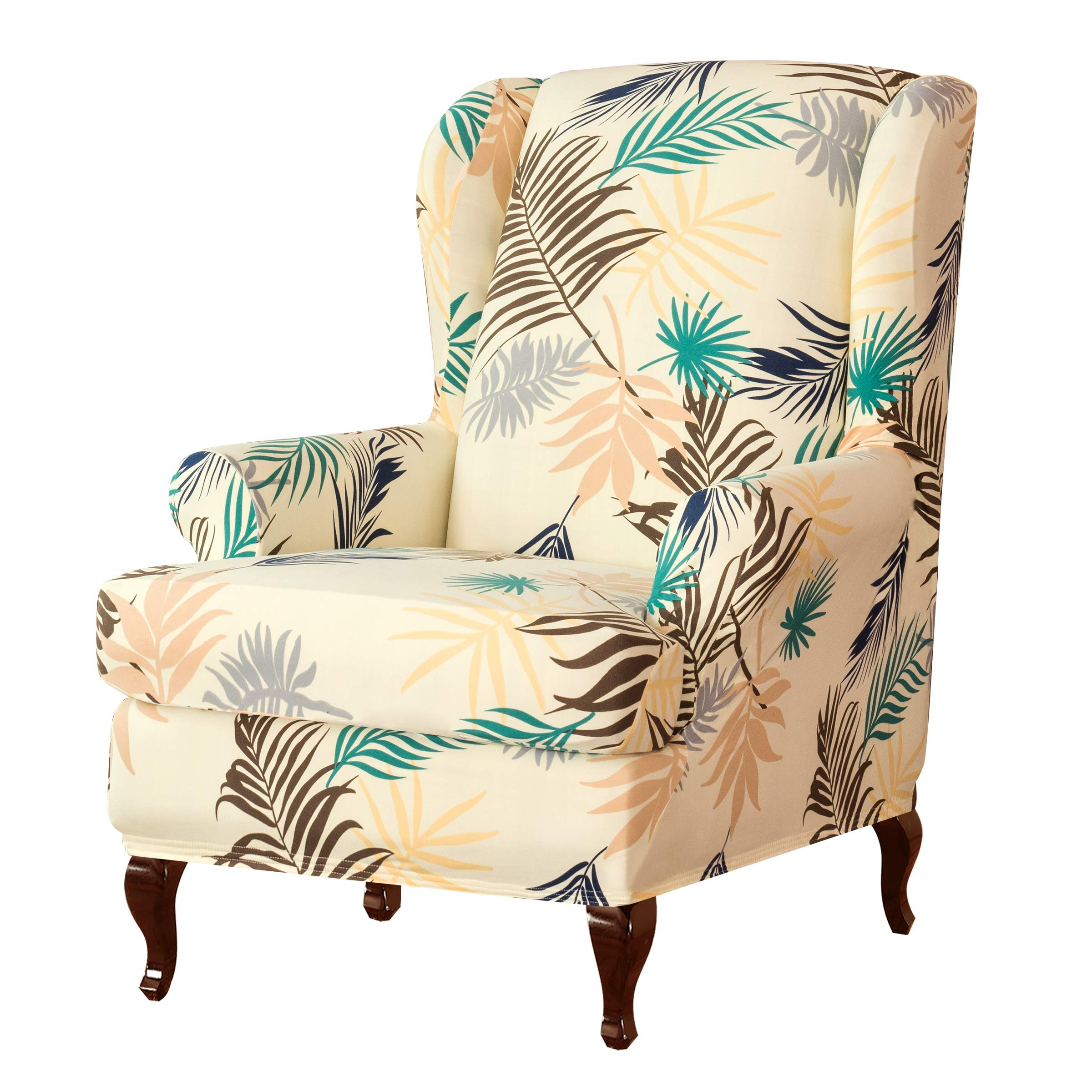 Subrtex Wingback Chair Slipcovers Stretchy Wing Armchair Covers Detachable Spandex Sofa Covers Leaves Printed Furniture Protector (Yellow) by Subrtex