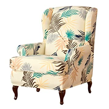 Super Subrtex Wing Chair Slipcovers Stretchy Wingback Armchair Covers Detachable Spandex Sofa Covers Leaves Printed Furniture Protector Yellow Gmtry Best Dining Table And Chair Ideas Images Gmtryco