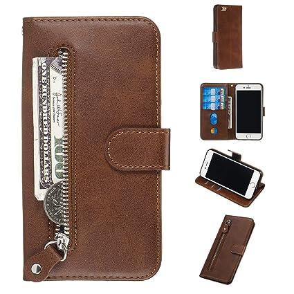 HUDDU Handyh/ülle Kompatibel mit iPhone 6 iPhone 6S H/ülle Leder Wallet Schutzh/ülle 3 Kartenf/ächer Rei/ßverschluss Brieftasche Magnetverschluss Filp Tasche PU Case St/änder Lederh/ülle Wristlet Braun