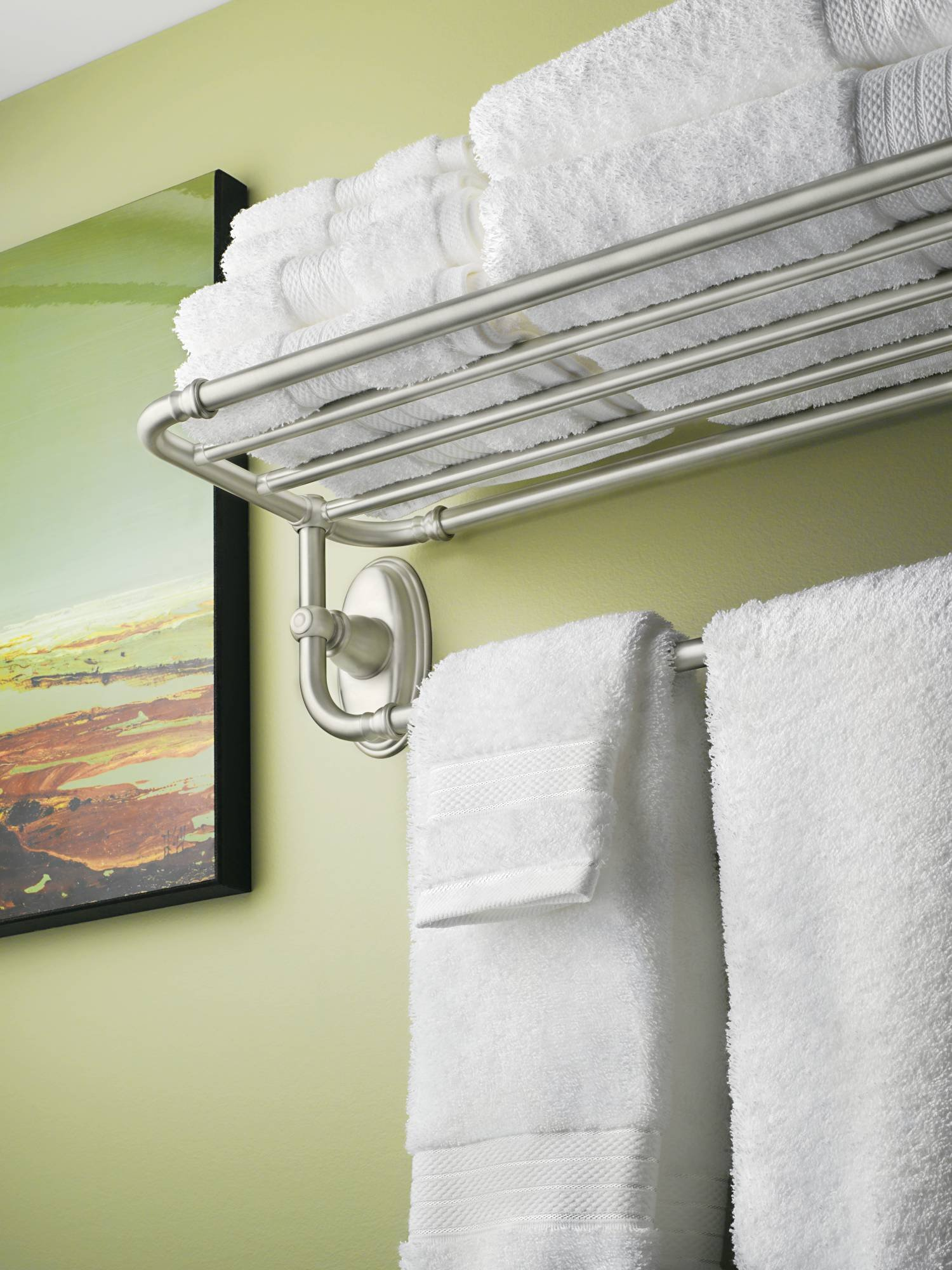Moen YB5494BN Kingsley Bathroom Towel Shelf, Brushed Nickel by Moen (Image #2)