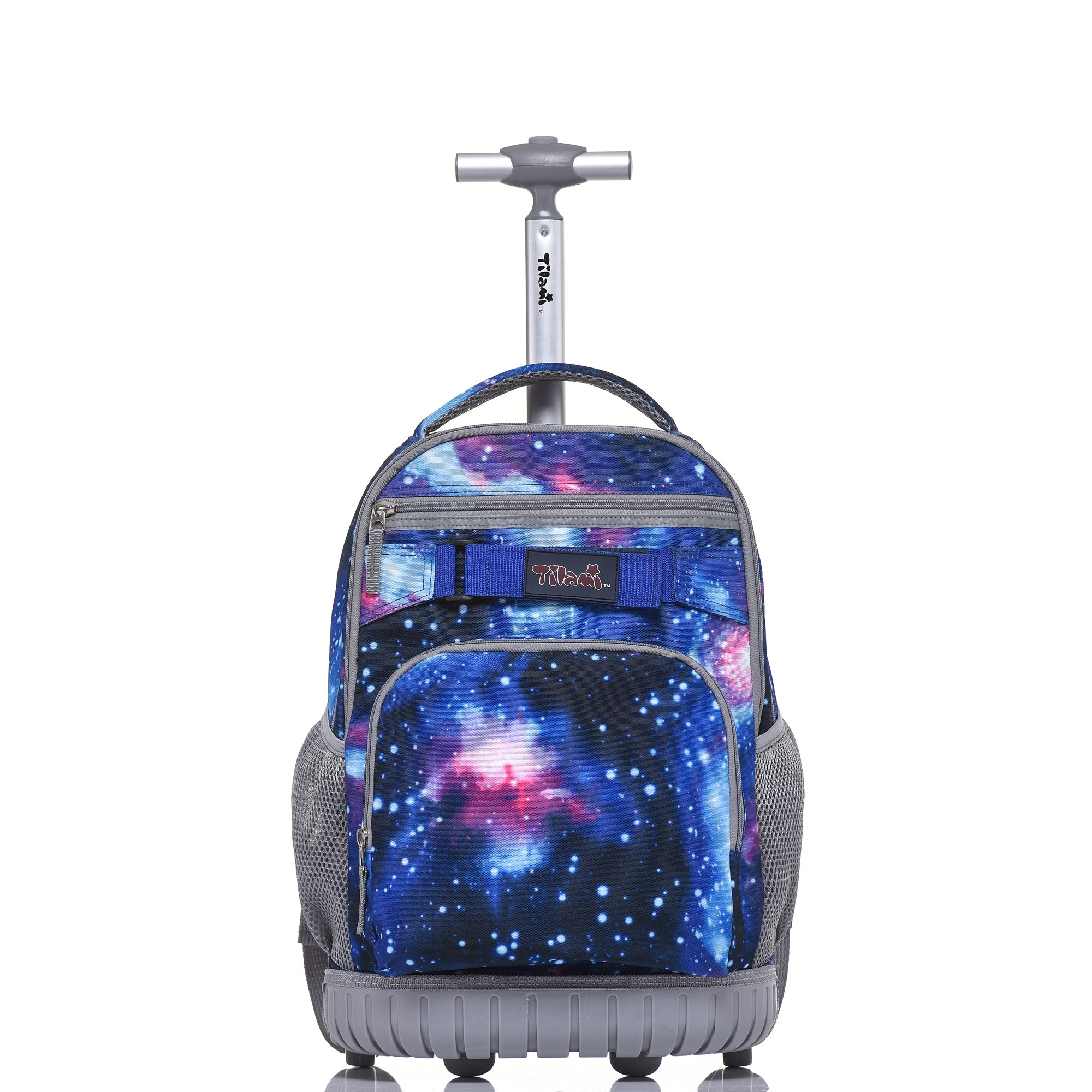 Tilami New Antifouling Design 18 Inch Oversized Load Multi-Compartment Wheeled Rolling Backpack Luggage for Kids (Blue Galaxy 1)