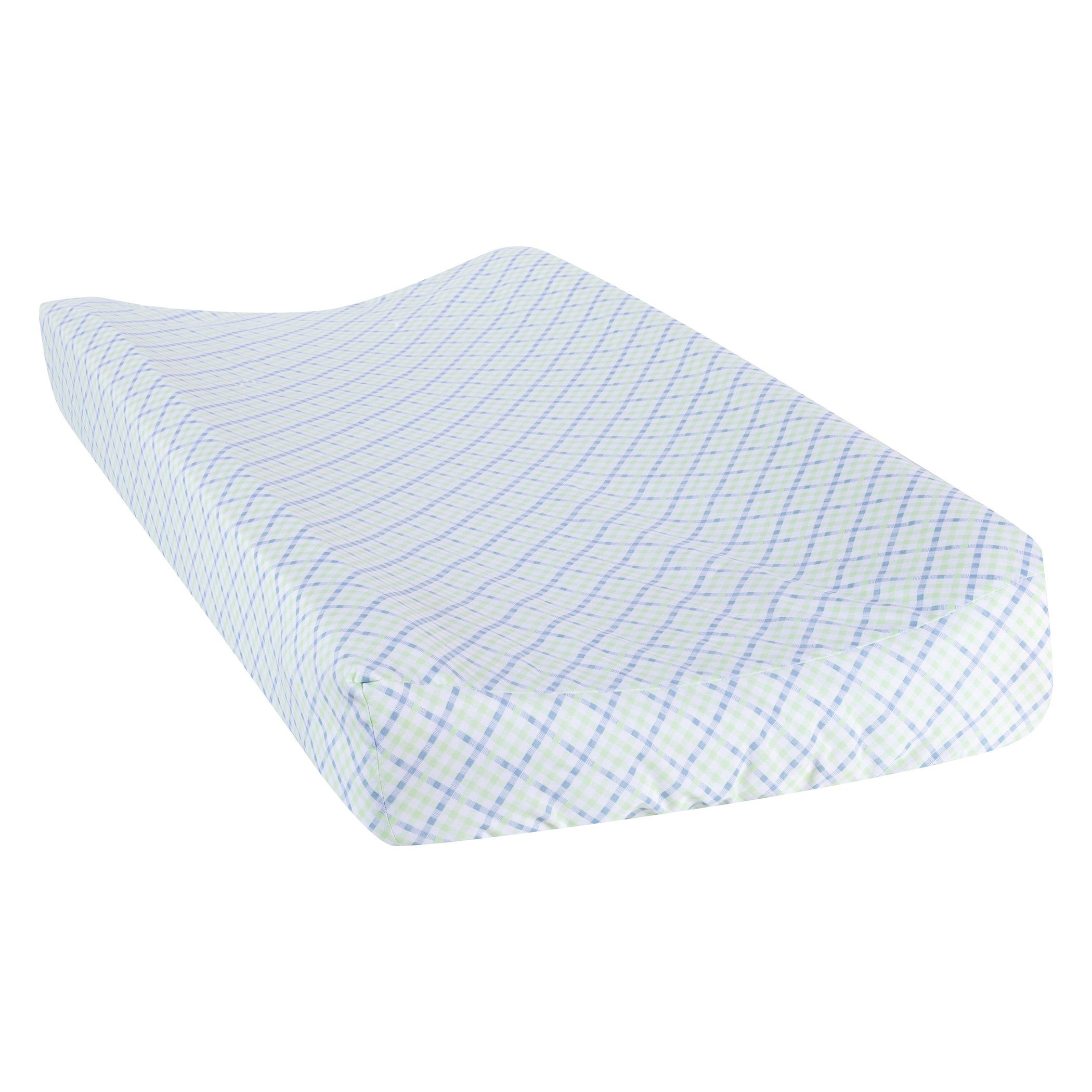 Trend Lab Forest Tales Plaid Changing Pad Cover, White/Blue/Green/Brown, 6 Count
