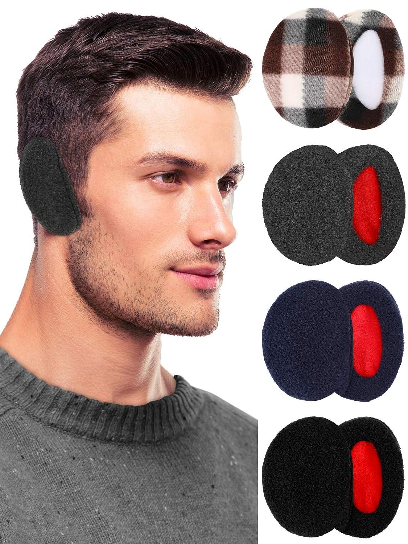 4 Pairs Unisex Bandless Ear Warmers Fleece Ear Muffs Thick Winter Ear Covers