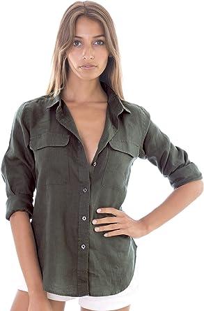CAMIXA Womens 100/% Linen Sleeveless Button-Down Two Pockets Shirt Cool Casual