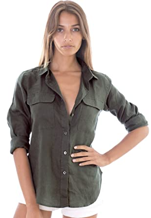 d4b18c059af20f CAMIXA Womens 100% Linen Button Down Shirt Casual Basic Blouse Pockets  Loose Top XS Green