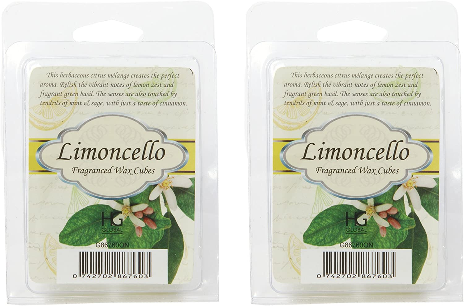 Hosley's Set of 2 Limoncello Scented Wax Cubes / Melts - 2.5 oz each. Hand Poured Wax Infused with Essential Oils. Ideal GIFT for Weddings, Spa, Reiki, Meditation Settings. O9