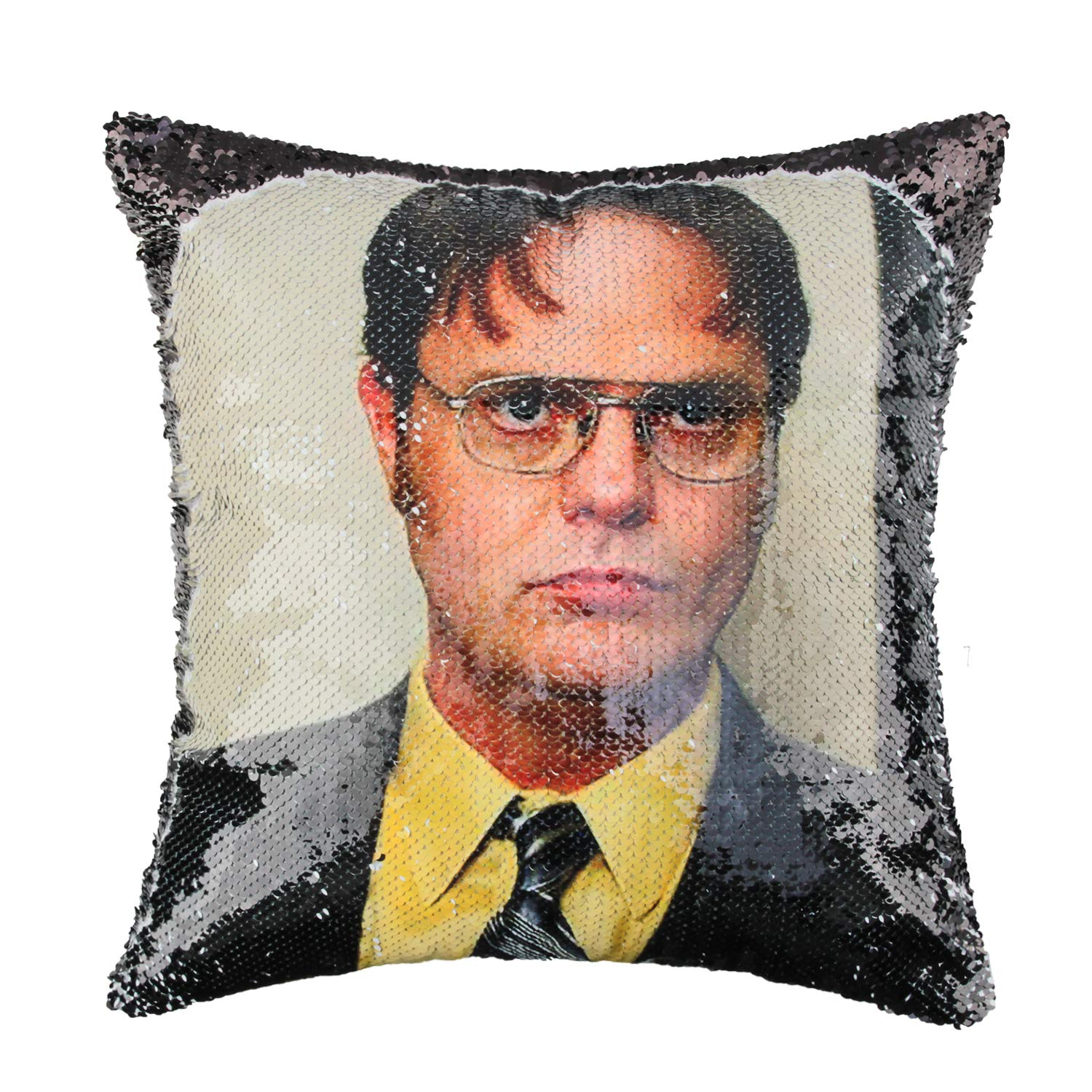 Merrycolor The Office Sequin Pillow Cover Dwight Schrute Magic Reversible Mermaid Throw Pillow Cover for Couch Decorative Cushion Cover Gifts 16 x 16 Inches (D Black)