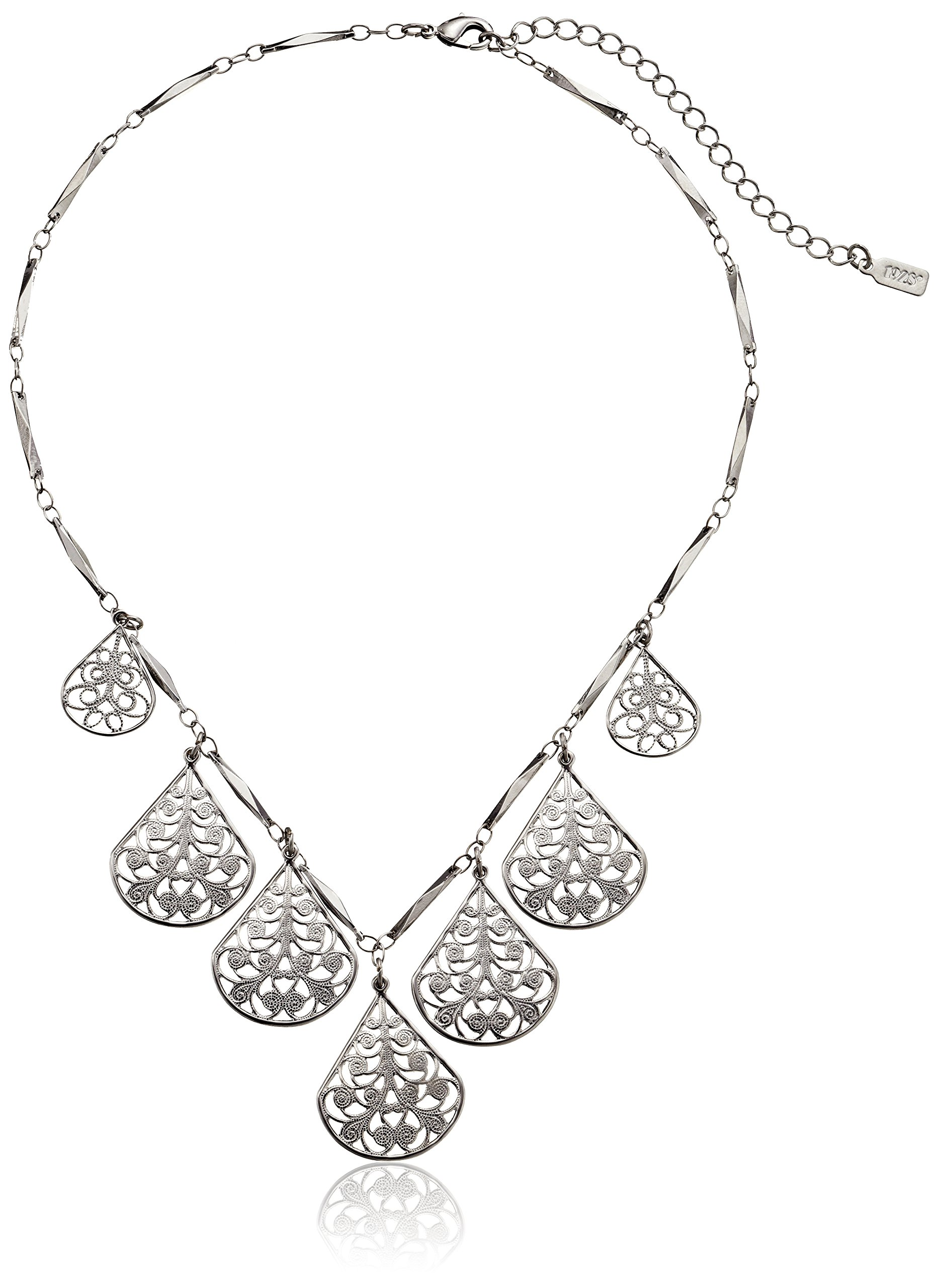 1928 Jewelry Silver-Tone Vine Filigree Teardrop Adjustable Collar Necklace, 16''