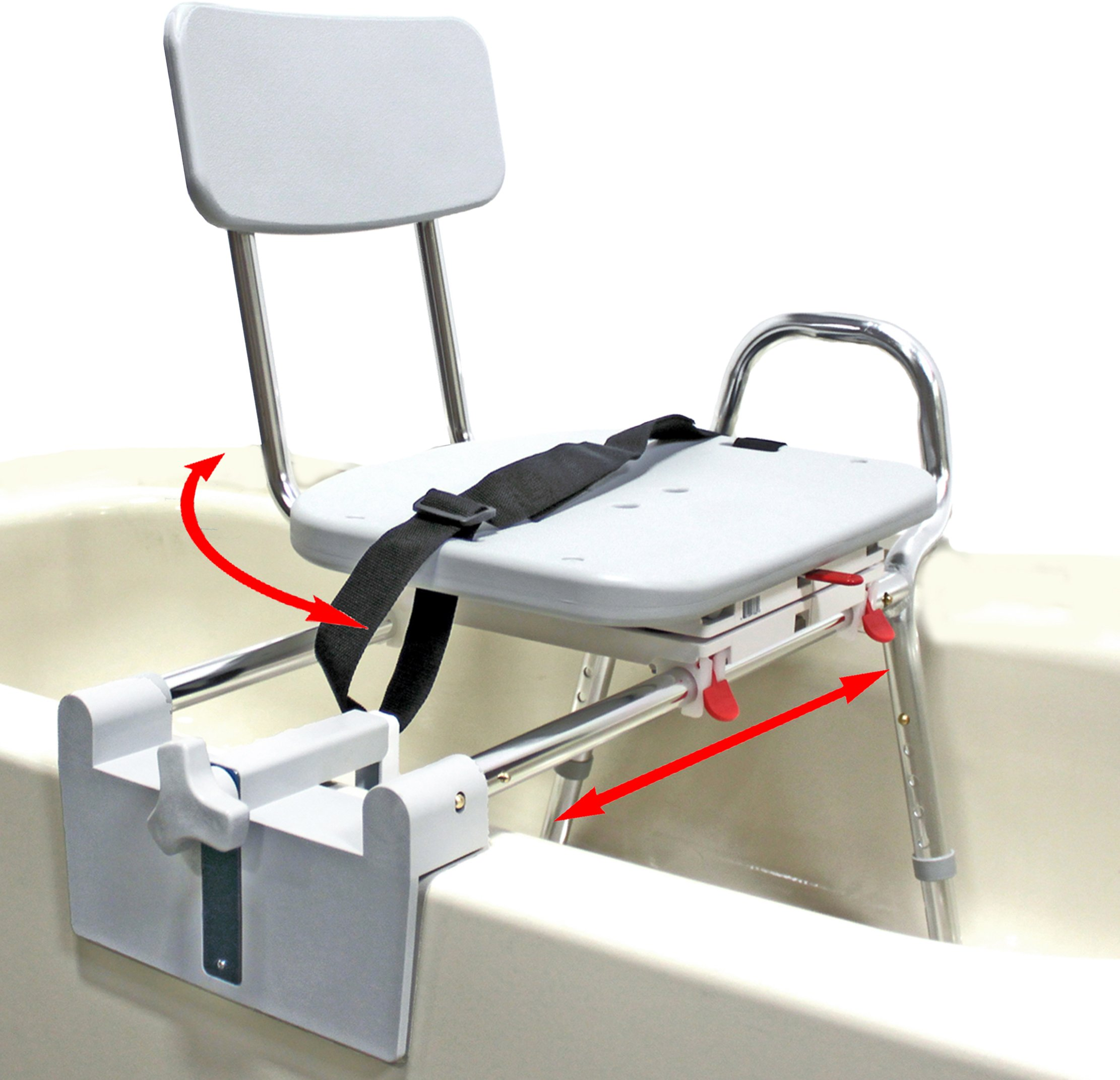 Tub-Mount Swivel Sliding Bath Transfer Bench (77762) - Regular - Heavy-Duty Shower Bathtub Chair - Eagle Health Supplies