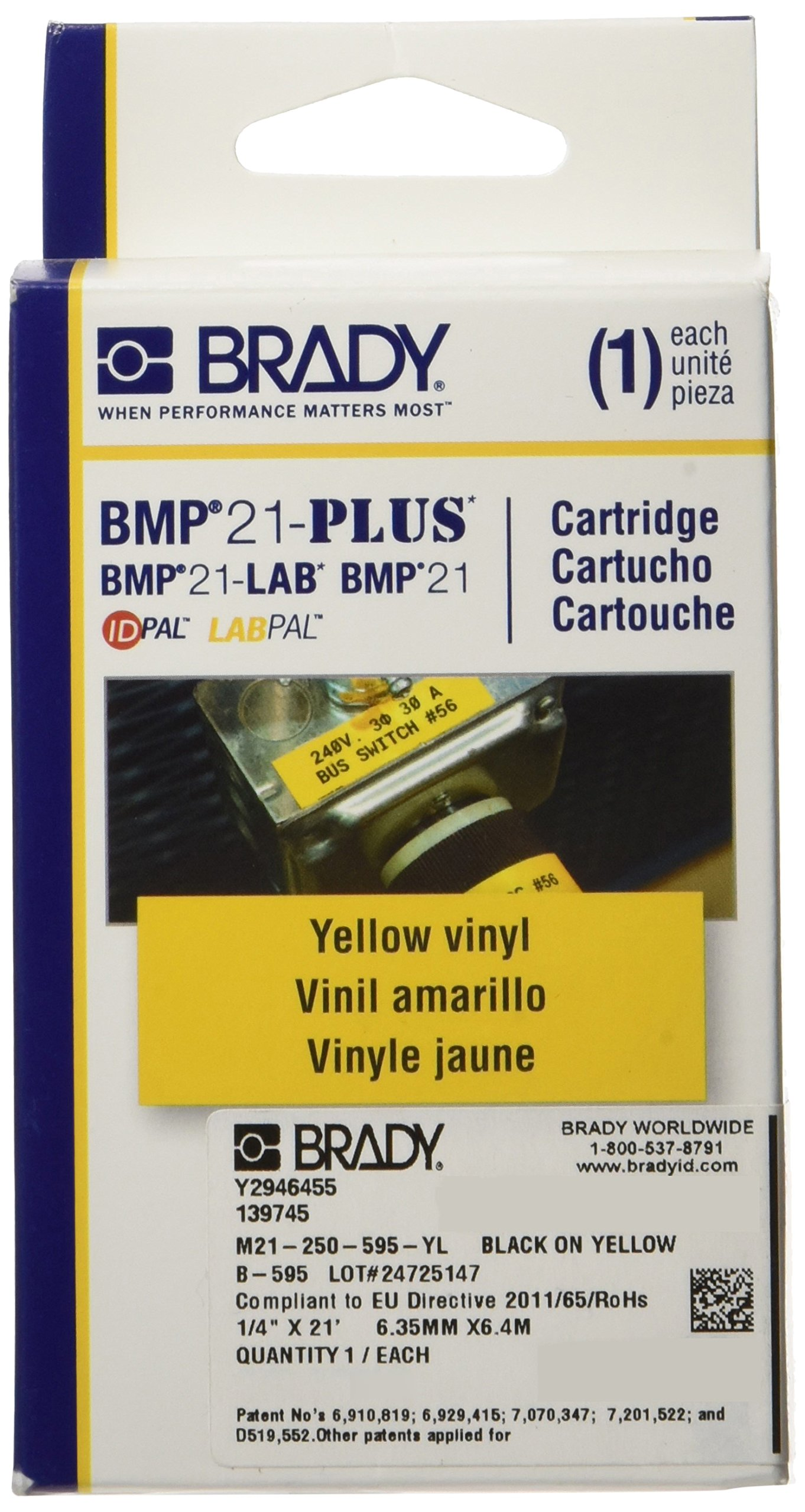 Brady M21-250-595-YL Cartridge, B595 Vinyl Indoor/Outdoor Material, 0.25'' W x 21' L, Black on Yellow