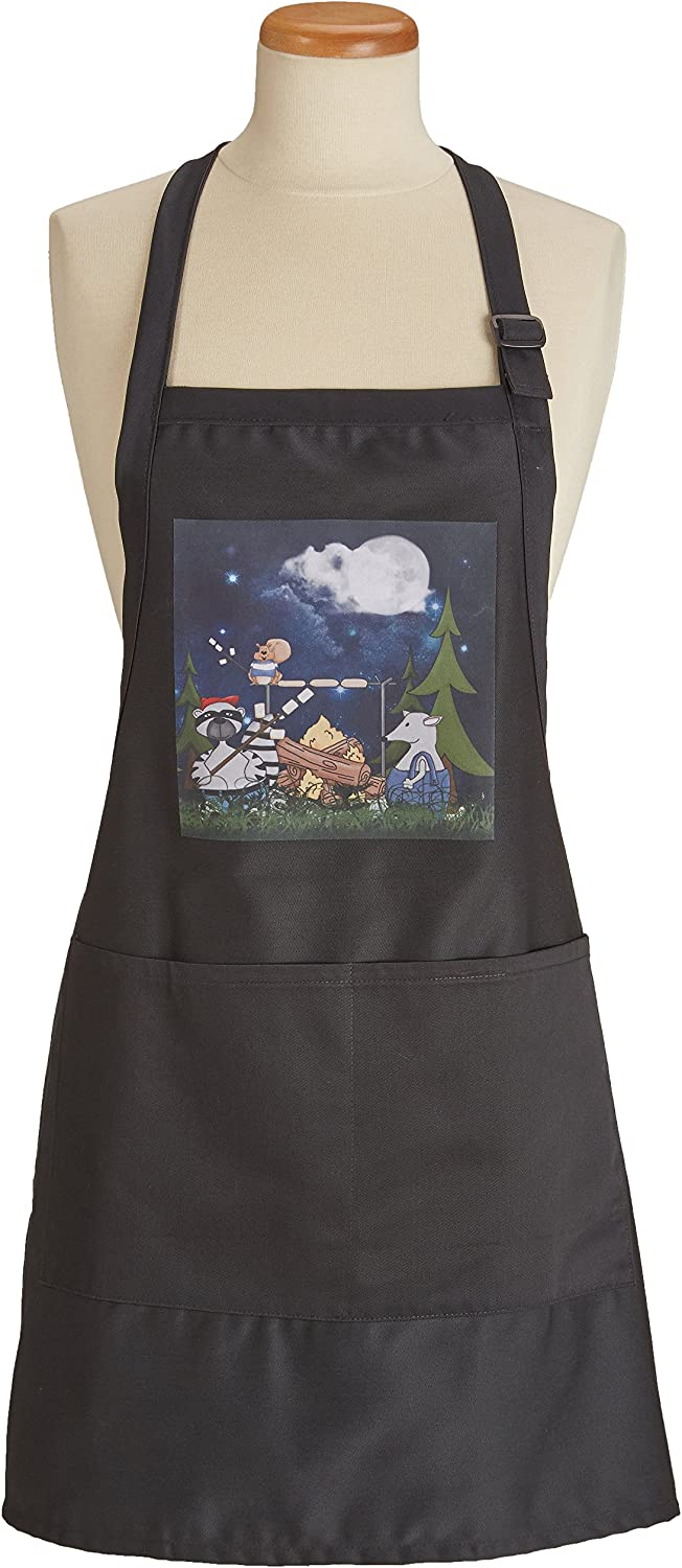 Amazon Com 3drose Apr 101839 4 Raccoon Squirrel And Opossum Camping With A Campfire And Marshmallows Full Length Apron With Pockets 22 By 30 Inch Black Home Kitchen