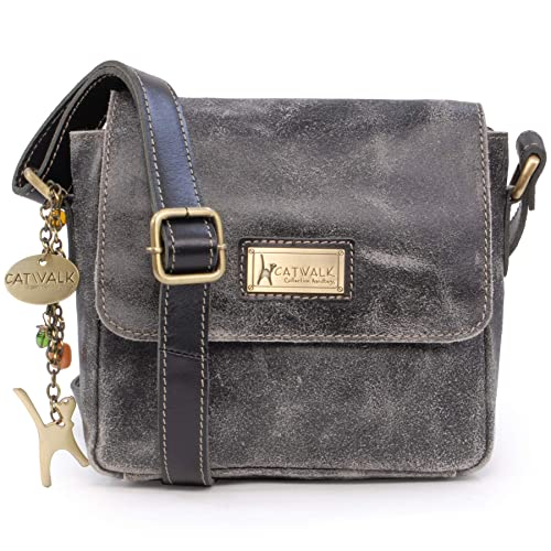 11a6ddf383ef3 Catwalk Collection Handbags - Ladies Small Distressed Leather Cross Body Bag  - Women s Messenger Organiser Work