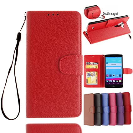 purchase cheap 6bcc3 f4cf8 LG G4 Case, Ssenlin Solid Color Premium [Litchi Pattern Series] Folio Flip  PU Leather Wallet Case [Stand Function] [Card Holder] with Magnetic Closure  ...