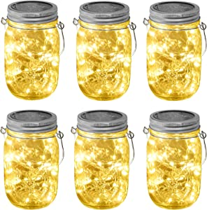 SODELIC Mason Jar Lights Solar with Lid (Incl. Jar) 6 Pack 30 LEDs Hanging Outdoor String Fairy Decor Table Lantern Light for Christmas, Patio, Garden, Yard, Lawn, Wedding, Warm White